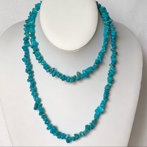 "estate pc nice quality faux TURQUOISE 35"" NECKLACE"